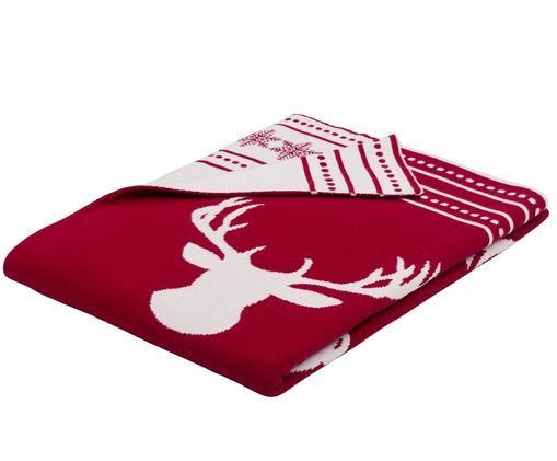 Manta de punto, caras distintas Rudolph, Rojo, blanco