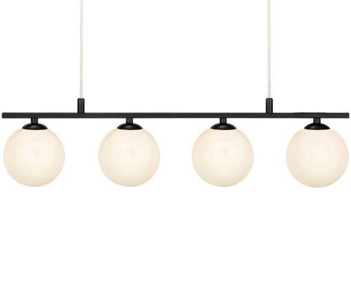 Lámpara de techo en vidrio opalino Quattro, Negro, blanco