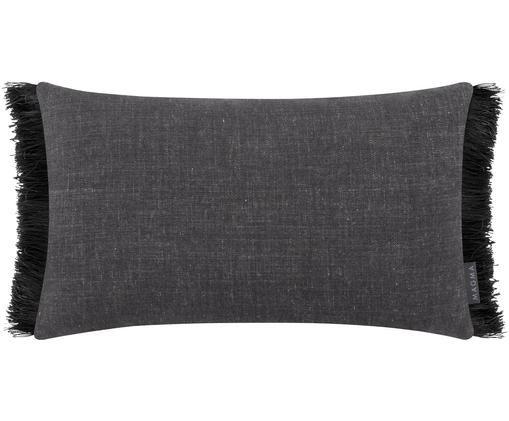 Kissenhülle Anouk in Grau mit schwarzen Fransen, Kissenhülle: Grau Fransen: Schwarz