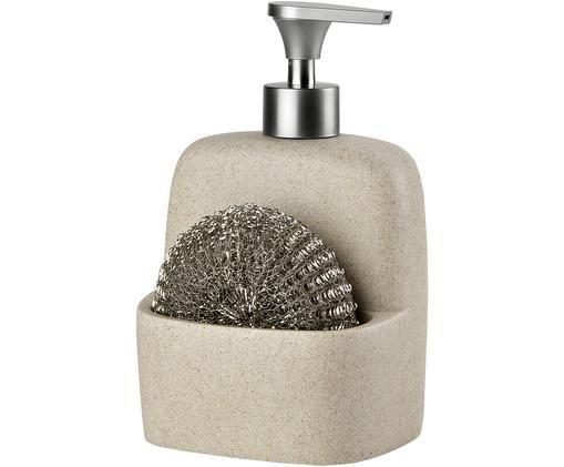 Set dosatore di sapone Sand, 2 pz., Beige, argentato