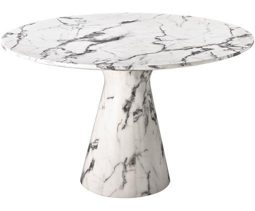 Runder Esstisch Turner in Marmor-Optik, Weiß, marmoriert