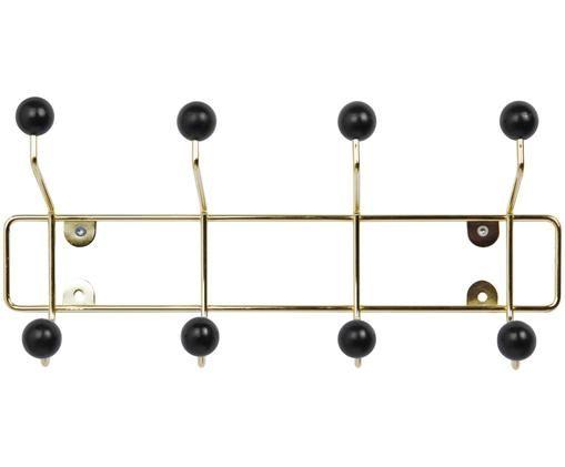 Metall-Garderobenhaken Saturnus, Gestell: GoldfarbenHaken: Schwarz