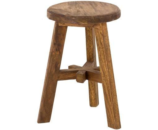 Stołek Dingklik, Drewno tekowe, ciemnybrązowy barwiony