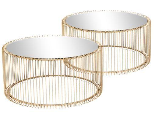 Metall-Couchtisch 2er-Set Wire mit Glasplatte, Messingfarben