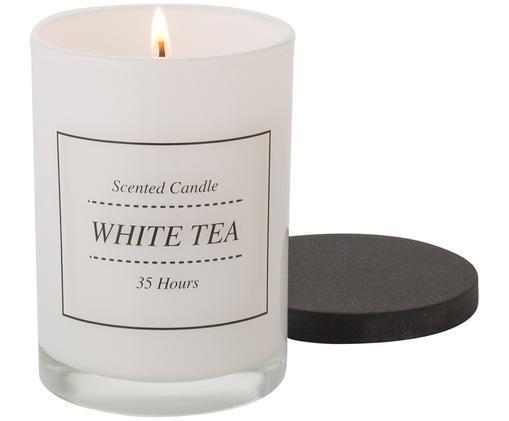 Duftkerze White Tea (Pudrig & Weißer Tee), Weiß, Schwarz