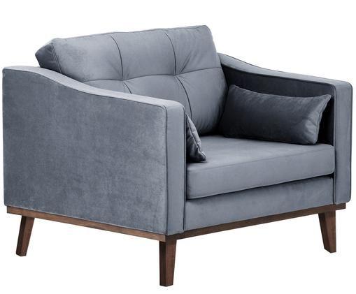 Klassischer Samt-Sessel Alva in Grau, Bezug: Grau Beine: Buche, dunkel gebeizt