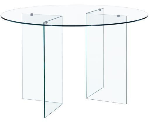Runder Glas-Esstisch Iride, Transparent