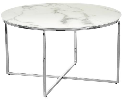 Tavolino da salotto Antigua con piano in vetro, Piano d'appoggio: latte, marmo stampato Struttura: cromato
