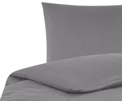 Katoensatijnen dekbedovertrek Comfort, Donkergrijs