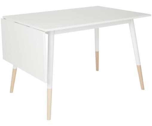 Stół rozsuwany do jadalni Klara, Biały, drewno naturalne