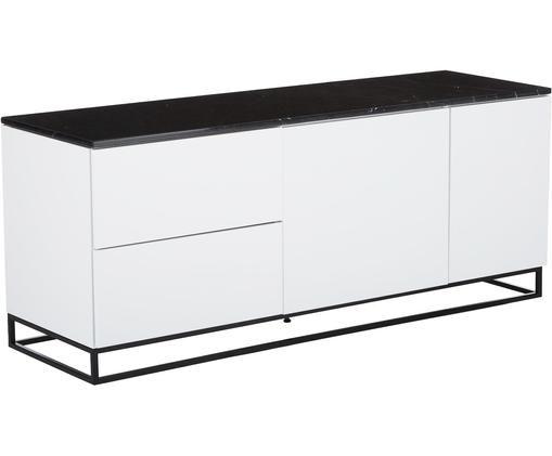 Sideboard Join mit schwarzer Marmorplatte, Weiß, Schwarz