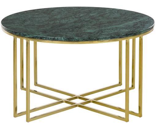 Runder Marmor-Couchtisch Joyce mit Metallgestell, Tischplatte: Grüner MarmorGestell: Goldfarben, glänzend
