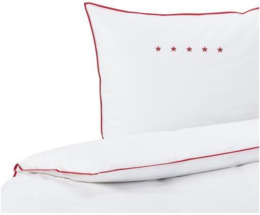 Perkal-Bettwäsche Star, Weiß, Rot