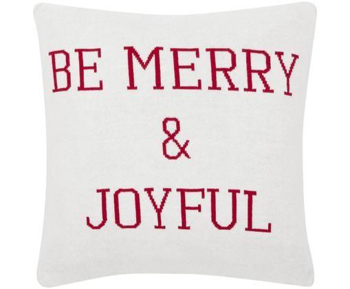 Kissenhülle Merry & Joyful in Weiß/Rot mit Schriftzug, Rot, Cremeweiß
