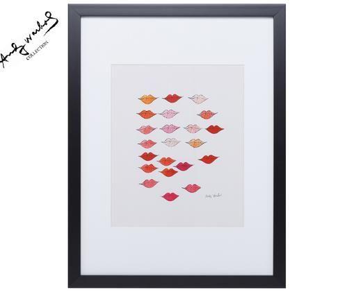 Ingelijste digitale print Kiss ''Andy Warhol Collection'', Afbeelding: multicolour. Lijst: zwart