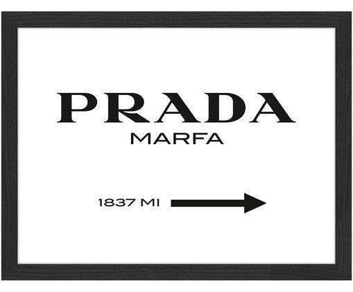 Gerahmter Digitaldruck Prada Marfa, Schwarz, Weiß