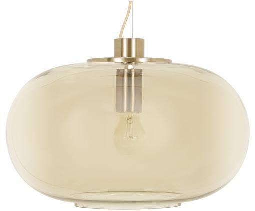 Lámpara de techo de vidrio Lunar, Anclaje: latón, mate Pantalla: ámbar, transparente