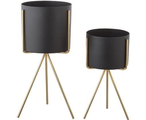 Set de maceteros Pedestal, 2pzas., Negro