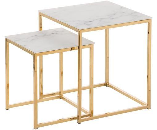 Set de mesas auxiliares Antigua con tableros de vidrio, 2uds., Tablero de vidrio impreso: blanco mate, veteado Estructura: dorado