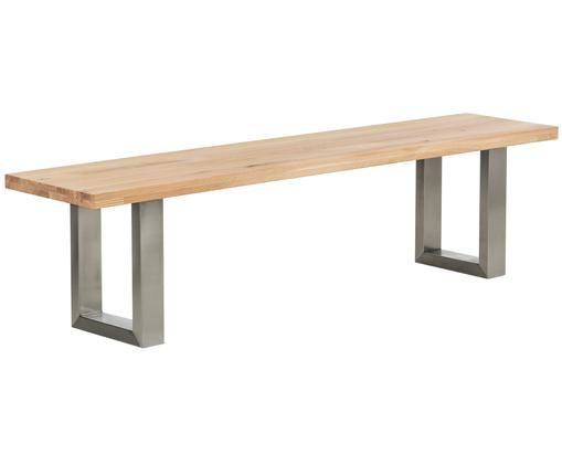 Sitzbank Oliver aus Eichenholz, Sitzfläche: WildeicheBeine: Edelstahl, matt gebürstet