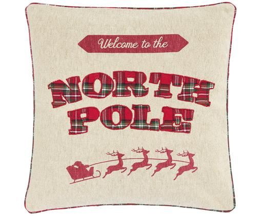 Wendekissenhülle North Pole mit karierter Rückseite, Vorderseite: Beige, Rot, DunkelgrünRückseite: Rot, Dunkelgrün kariert