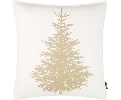 Kissenhülle Norton mit goldenem Tannenbaum, Weiß, Goldfarben