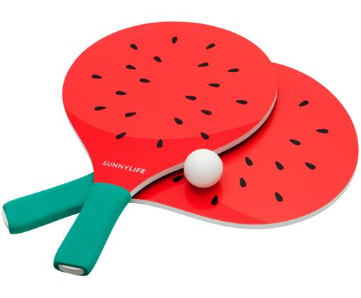 Zestaw plażowy do gry w piłkę Watermelon, 4 elem., Czerwony, turkusowy, czarny, biały