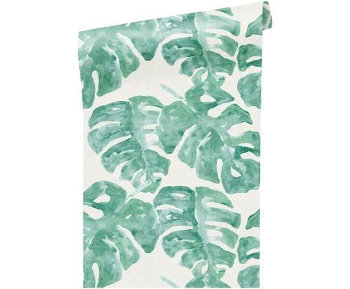 Tapete Blend Dschungel, Weiß, Grün