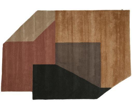 Tappeto in lana taftato a mano Alton, Antracite, terracotta, marrone, beige, caramello