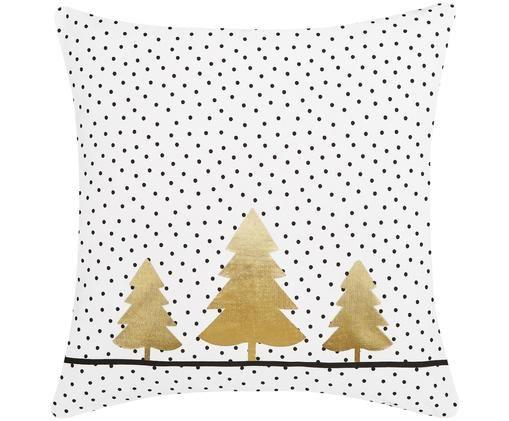 Gepunktete Kissenhülle Yule mit goldenen Tannenbäumen, Weiß, Schwarz, Gold