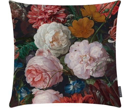 Samt-Wendekissenhülle Fiore mit dunklem Blumenmuster, Anthrazit, Rosa, Rot, Gelb, Grün, Blau