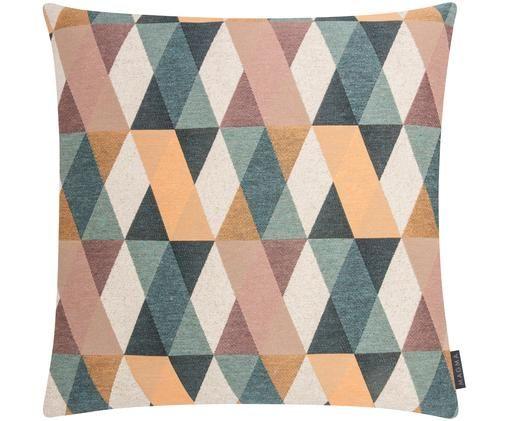 Kissenhülle Lexis mit buntem geometrischem Muster, Petroltöne, Beige, Rosatöne, Orange