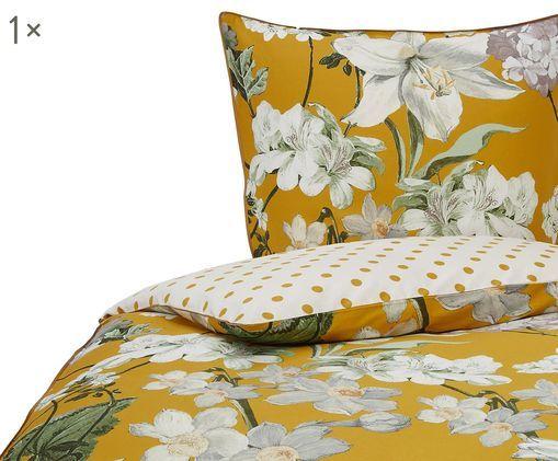 Baumwollsatin-Wendebettwäsche Rosalee mit Blumen-Muster
