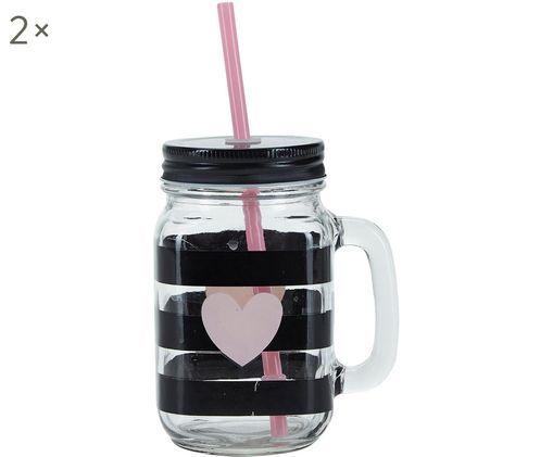 Trinkgläser Stripes & Heart, 2 Stück