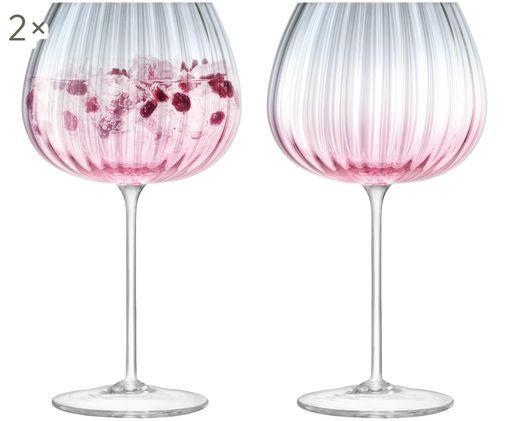 Handgefertigte Rotweingläser Dusk mit Farbverlauf, 2er-Set