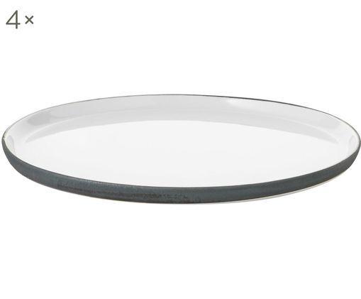 Handgemachter Speiseteller Esrum matt/glänzend, 4 Stück