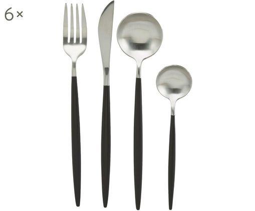 Silbernes Besteck-Set Style mit schwarzem Griff, 6 Personen (24-tlg)