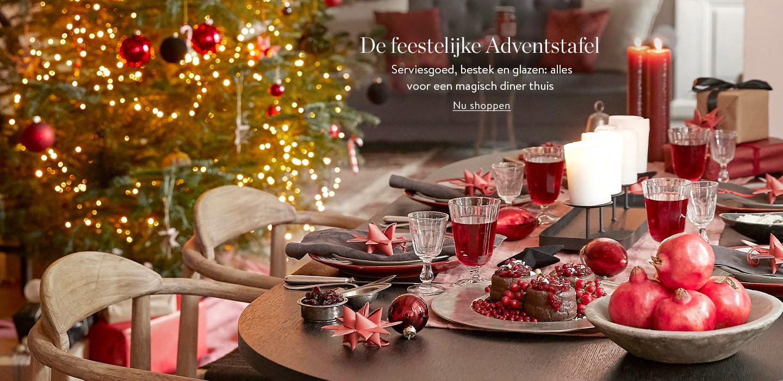 De feestelijke Adventstafel  Serviesgoed, bestek en glazen: alles voor een magisch diner thuis