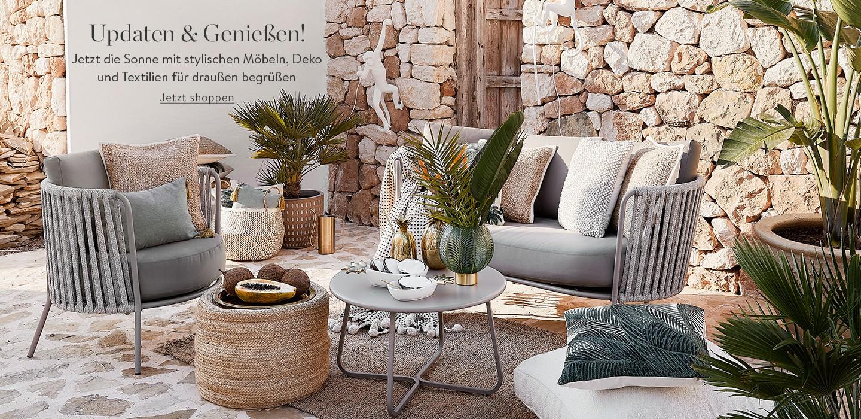 Updaten & Genießen! Jetzt die Sonne mit stylischen Möbeln, Deko und Textilien für draußen begrüßen