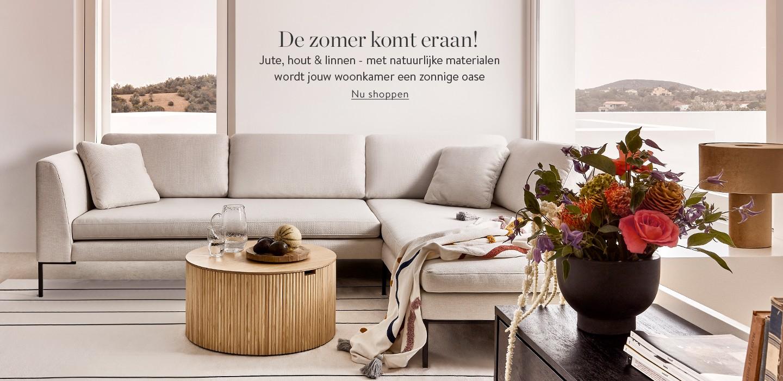 De zomer komt eraan!  Jute, hout & linnen - met natuurlijke materialen wordt jouw woonkamer een zonnige oase