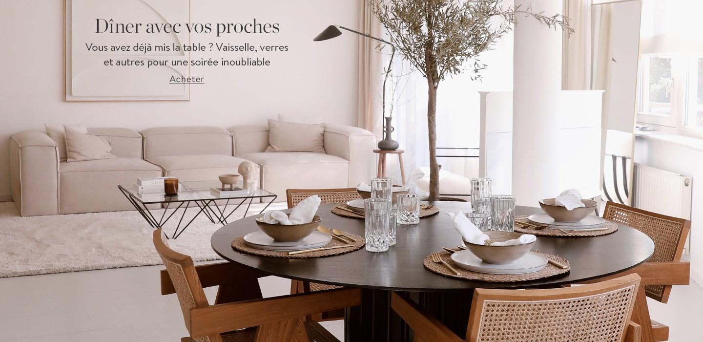 Dîner avec vos proches Vous avez déjà mis la table ? Vaisselle, verres et autres pour une soirée inoubliable