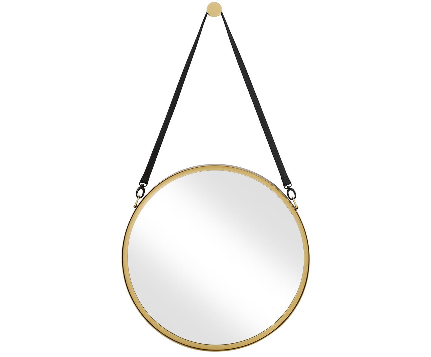 Runder Wandspiegel Liz mit schwarzer Lederschlaufe, Spiegelfläche: Spiegelglas, Rückseite: Mitteldichte Holzfaserpla, Gold, Ø 80 cm