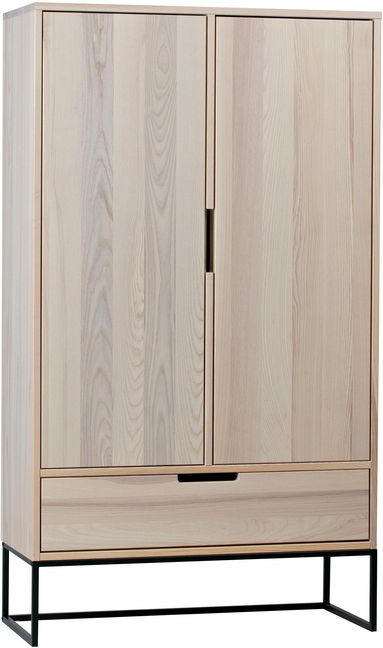 Wysoka komoda Silas, Korpus: drewno jesionowe, szczotk, Nogi: metal lakierowany, Beżowy, S 85 x W 149 cm
