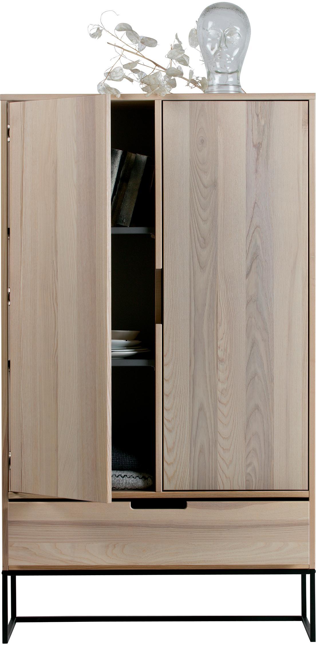 Highboard Silas, Korpus: Eschenholz, gebürstet und, Füße: Metall, lackiert, Beige, 85 x 149 cm