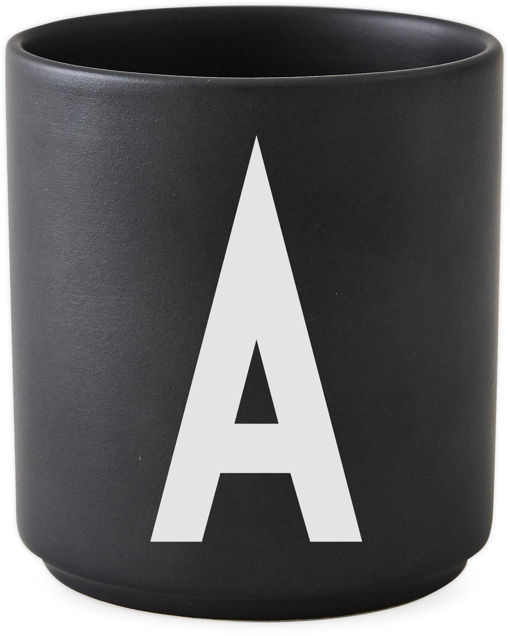 Tazza senza manico di design Personal (varianti dalla A alla Z), Fine Bone China (porcellana), Nero opaco, bianco, Tazza A