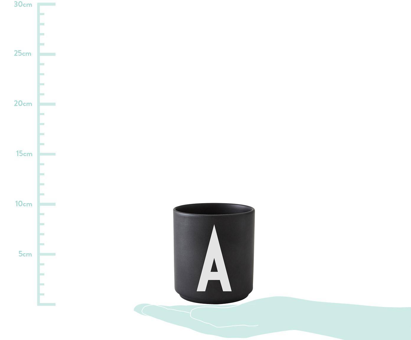 Design Becher Personal mit Buchstaben (Varianten von A bis Z), Fine Bone China (Porzellan), Schwarz matt, Weiss, Becher A