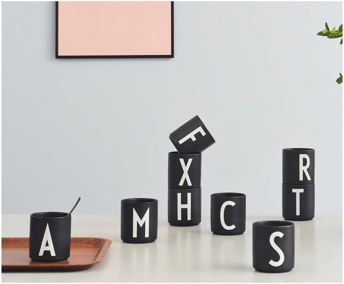 Dizajnérsky hrnček s písmenami Personal (varianty od A po Z), Matná čierna, biela