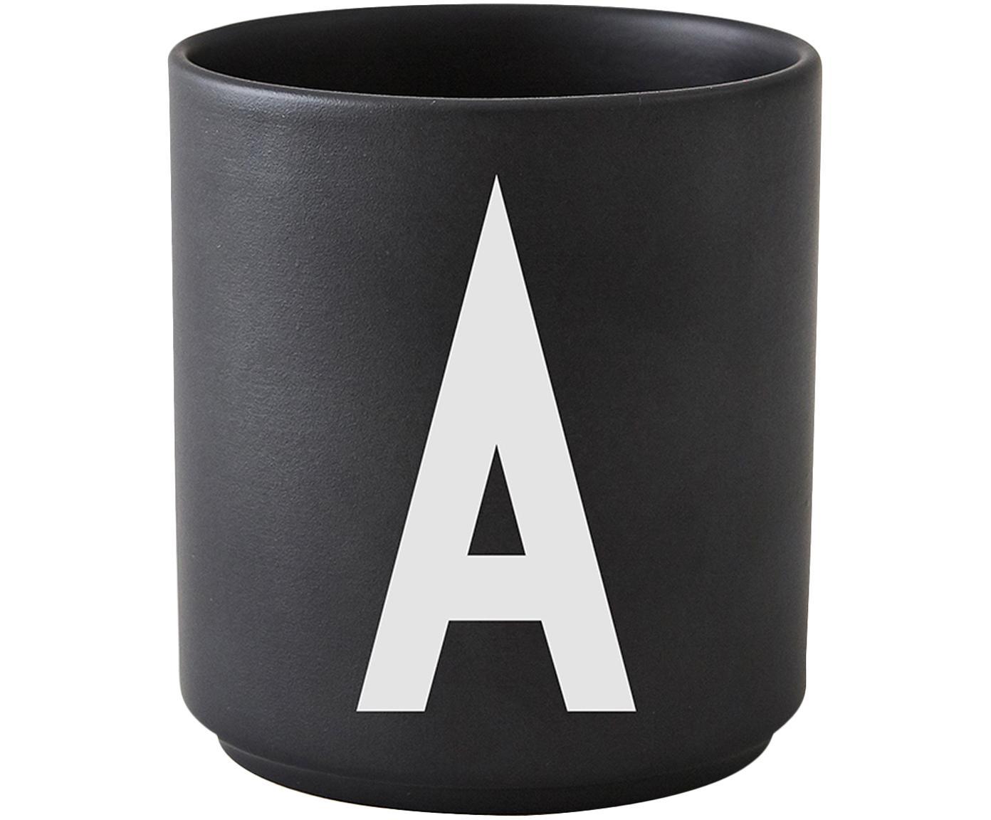 Beker Personal (varianten van A tot Z), Fine Bone China, Mat zwart, wit, Ø 8 x H 9 cm