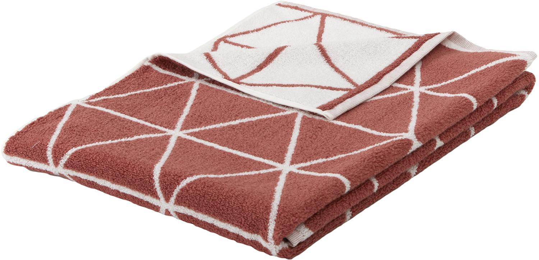 Asciugamano reversibile con motivo grafico Elina, Terracotta, bianco crema, Telo bagno