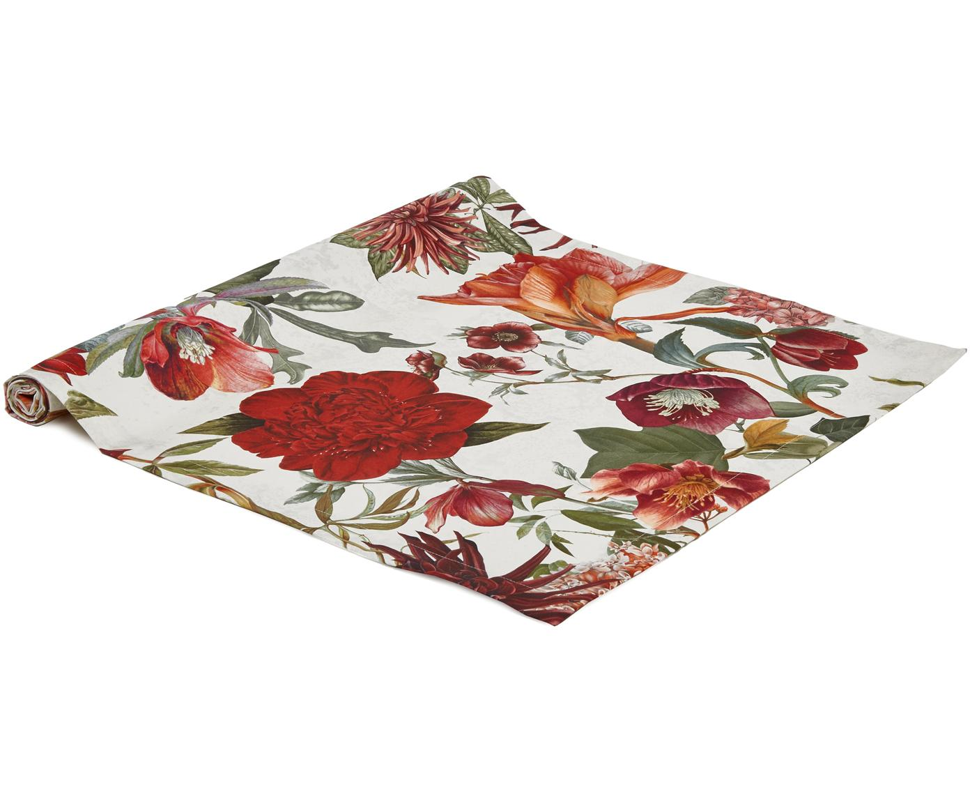 Tischläufer Samanta, Baumwolle, Weiß, Rot, Orange, Grün, 50 x 140 cm